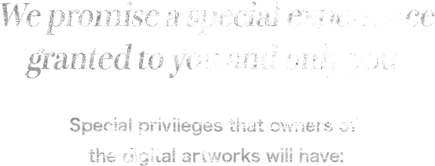 We promise a special experience granted to you and only you. Special privileges that owners of the digital artworks will have: